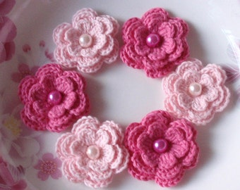 6 Crochet Flowers With Pearls In Lt Pink, Bubblemgum Pink  YH-011-16