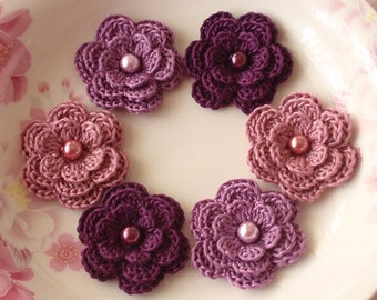 6 Crochet Flowers With Pearls In Purple, Plum, Rose Manve  YH-013-27