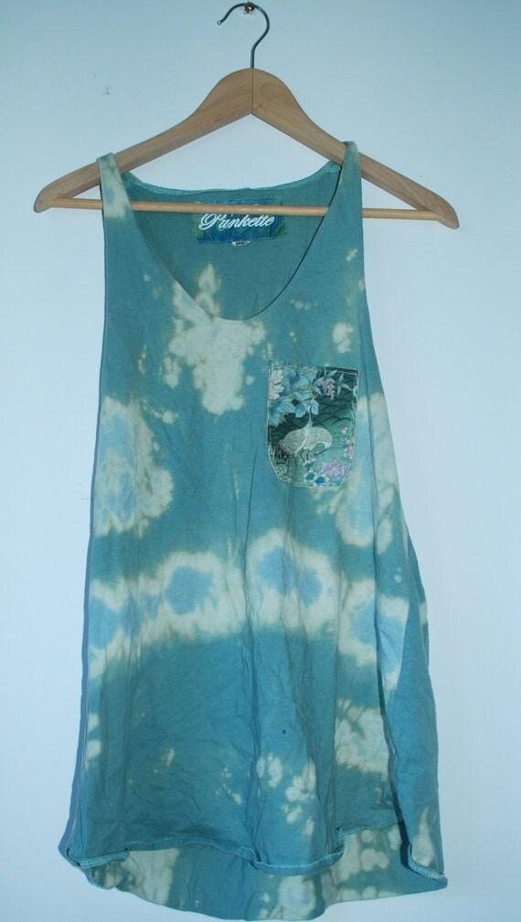 Tye Dye/Bleached Blue Singlet with Floral Bird Pocket