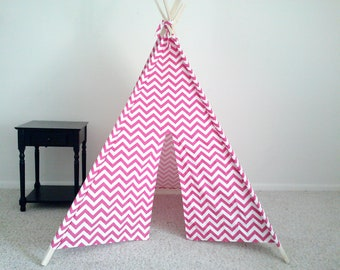 Pink Play Tent, Pink and White Chevron Teepee, Girls Tent, Girls Teepee,  Pink Tipi