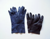 Leather Gloves - Brown and Blue 1950s