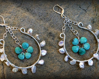 White Freshwater Pearls wrapped on Sterling Silver with Turquoise Flower Drop, Stocking Stuffer, Hostess Gift AD1340X
