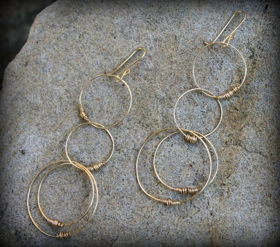 Always Earrings, 14k gold filled wire circles, Wire Wrapped, Connected Circle Earrings, Stocking Stuffer, Hostess Gift AD1312X