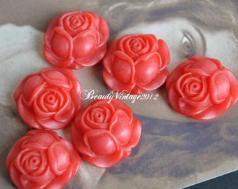 4 PCS Resin Cabochon 27mm Rose Cabochons Beautiful Colors Supplies For Handmade Vintage Jewelry Embellishment---RF2-11