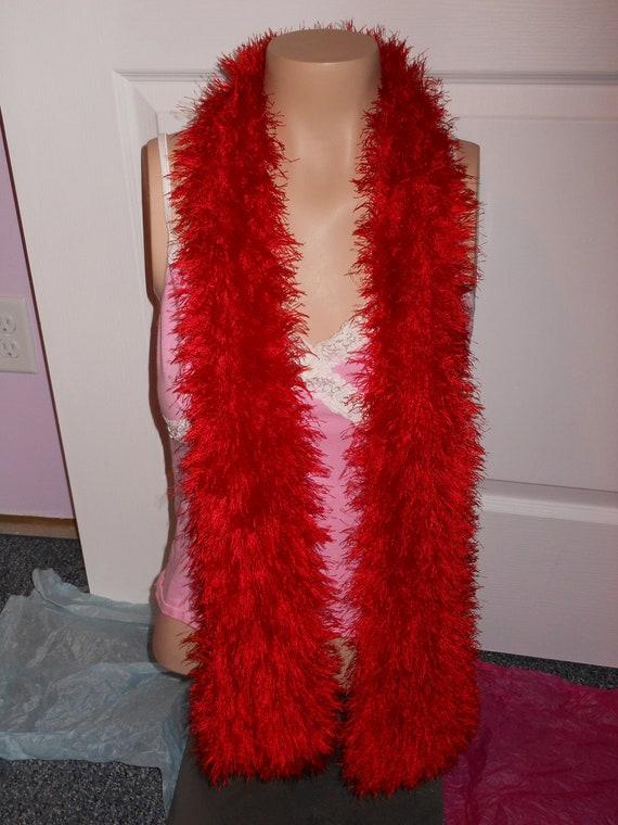 Knitting Pattern For Fun Fur Scarf : Bright Red Hand Knit Fun Fur Scarf LONG 58 Fun & Wild