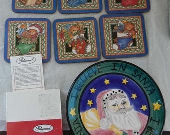 Vintage Coasters Pimpernel Christmas Bear and  Cordon Bleu Christmas Plate