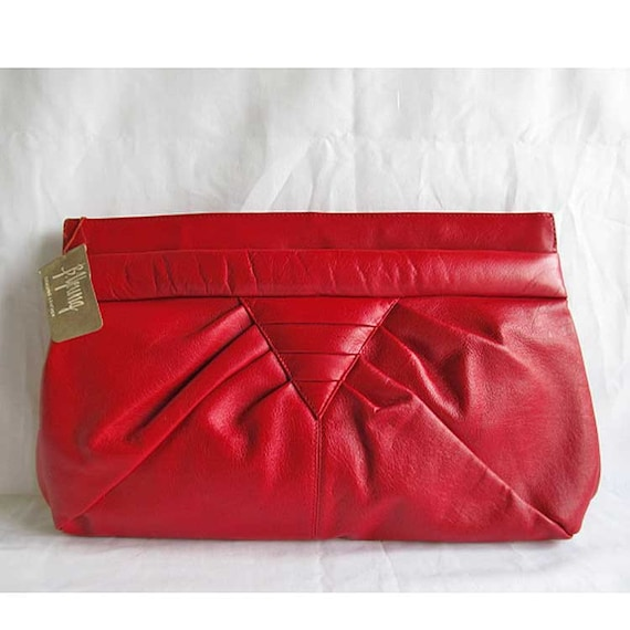 Red Leather Clutch Purse Vintage 1970's B. Young with Shoulder Strap