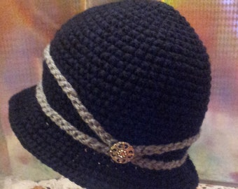 Crochet Women's Vintage Black Winter Cloche Hat with Button- Cap From 1920s-Adult-Teen-