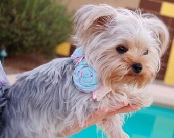 Beautiful Light Blue Shabby chic Dog Collar, Dog Necklace, Pink Ribbon Collar