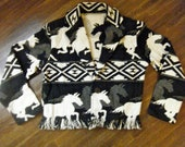 Womens Knitted Western Horse Print Jacket 100% Cotton L