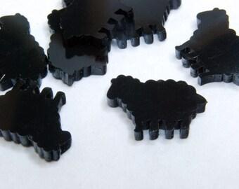 Black Sheep Cabochons, Lamb, Die Cut Plastic, 11 mm - 10 pieces