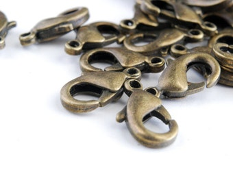 Bronze Lobster Claw Clasps,  8 mm x 14 mm - 20 pieces (FB023)