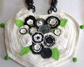 Floral Hex Crochet Handbag - Black & White
