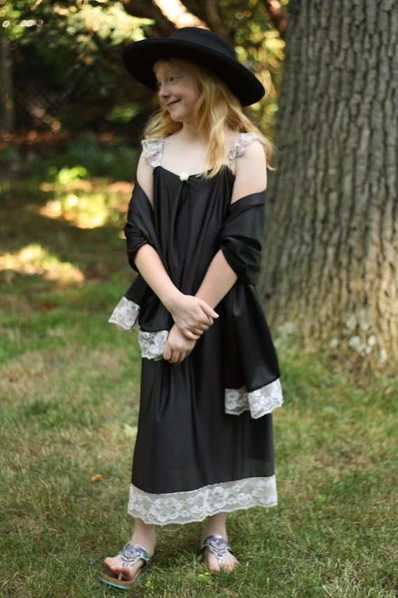 Girls Black Pillowcase Shift Dress with Shawl Stole Wrap Set for Dress Up, Flapper Halloween Costume, Pretend Play