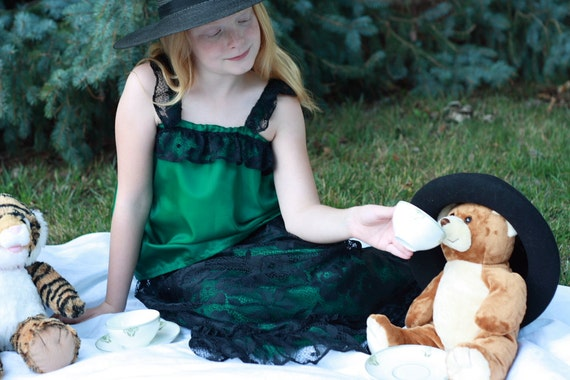 Tea Party Dress Up Clothes Set for Girls--4 Pc Green Princess Top, 2 Skirts, Black Lace Shrug