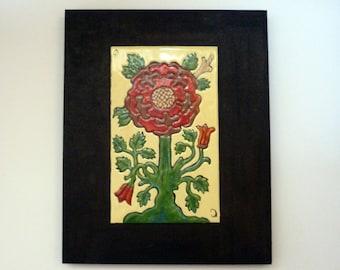 Tudor Rose- Vitreous Enamel Art- English heritage, London fans, British. Free shipping