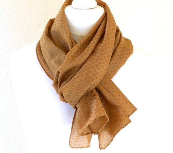 Caramel Silk Cotton Scarf for Head Neck or Shoulders