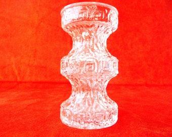 Vintage Glass Candle Holder, Flower Vase