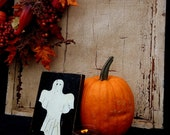 Hand-painted White Ghost on Black Reclaimed Wood - Halloween