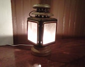 Antique Repurposed Lantern Steampunk Lamp Black and Brass Oil Lamp