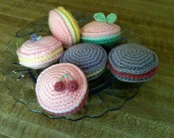 Crochet French Macarons Set of 6 Dessert Pastries Amigurumi