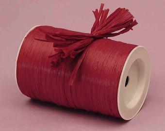 Burgundy Matte Raffia Ribbon - 10 Yards - Many Colors Available