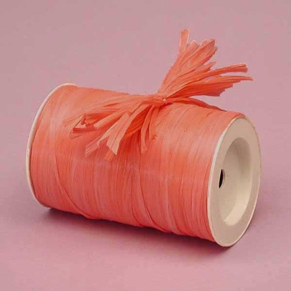 Coral Matte Raffia Ribbon 10 Yards Many Colors Available