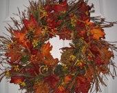 Fall Spray Wreath w Twig Pumpkin & Dried Oranges