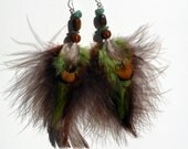 "6"" Aventurine & Tigers Eye Feathered Earrings"