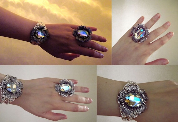 Silver crystal set, gypsy, ab crystal, filigree, victorian style, ring and cuff bracelet.
