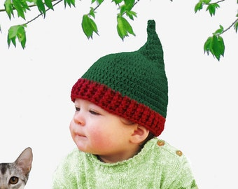 Crochet Pattern for Pixie or Christmas Hat - Six Sizes - Preemie to Adult
