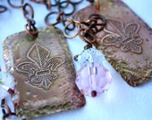 Womens FrenchNecklace Etched Copper Fleur De Lis Dog Tags  Pink Crystals