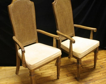 Beautiful French Victorian Caning Backrest Fabric Tall Dining Armchair