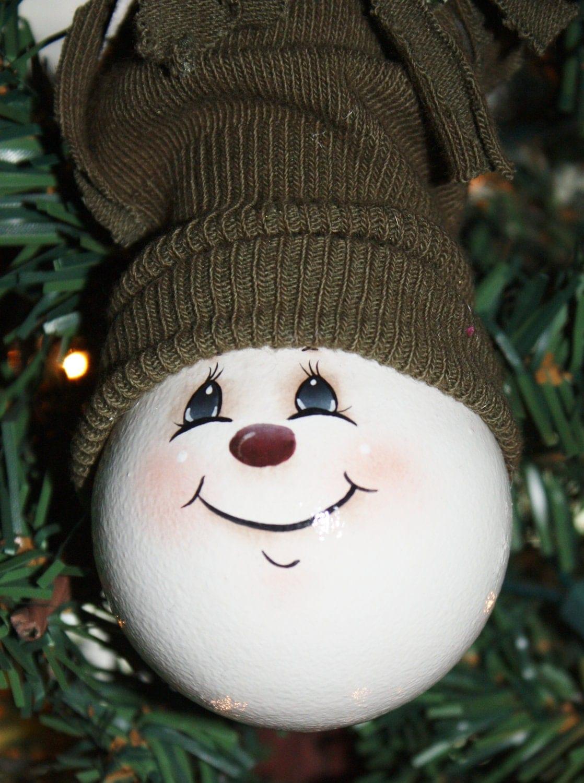 OOAK Hand Painted Snowman Light Bulb Ornament