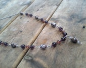 Brown And Purple Glass Bead Necklace