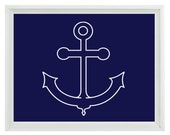 Nautical Beach Anchor Wall Art Print  - Navy Blue White - Nursery Children Room Home Decor