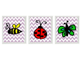 Bug Chevron Nursery Wall Art Print - Bumble Bee Lady Bug Butterfly  - Children Kid Baby - Wall Art Home Decor Set   Prints