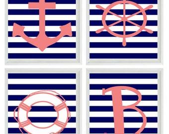 Beach Nautical Initial Art Print Set - Pink Navy Blue White Stripes Nursery Girl Room - Anchor Wheel - Wall Art Home Decor Set