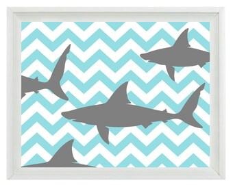 Shark Chevron Sea Creature Art Print Set - Nursery Aqua Gray Children Boy Room  - Beach House Wall Art Home Decor  Print