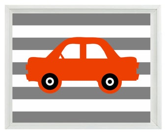 Car Art Print - Transportation Nursery Boy Room - Orange Gray Stripes - Automobile Retro Wall Art Home Decor  Print