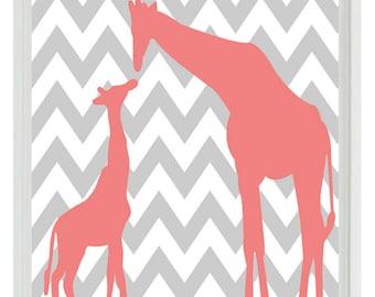 Giraffe Chevron Nursery Wall Art Print - Pink Gray  Decor Parent Child - Children Kid Baby - Wall Art Home Decor