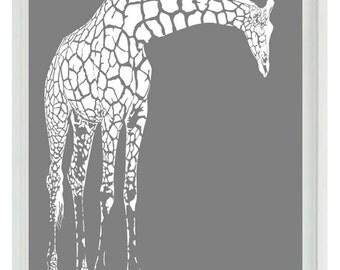 Giraffe Nursery Wall Art Prints  - White Gray Decor Silhouette - Children Kid Room Safari Africa Home Decor  Print