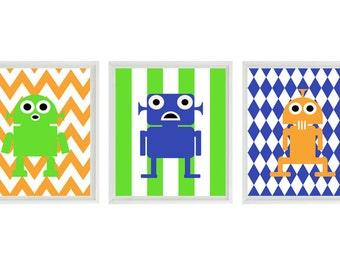 Robot Art Print Set - Boy Room Nursery Chevron Stripes - Green Blue Orange - Kid Wall Art Children Room Decor   Prints