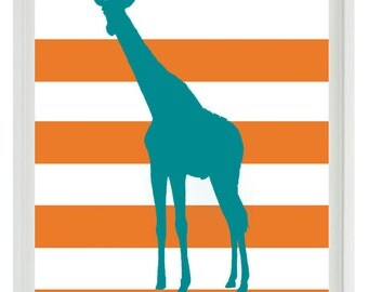 Giraffe Nursery Wall Art Print  - Safari Africa Teal Orange Stripes - Children Room Home Decor