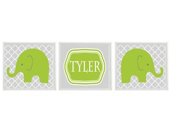 Elephant Nursery Wall Art Print - Green Gray Decor - Name Personalize Customize Children Kid Baby Room - Wall Art Home Decor  -  Prints