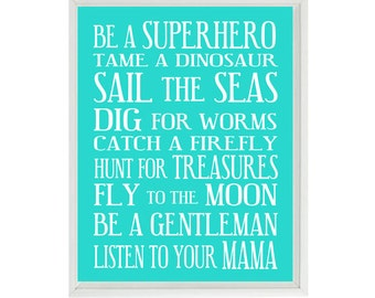 Boy Nursery Art - Turquoise White Subway Art - Typography - Toddler Baby Rules - Playroom Room Wall Art Print Poster