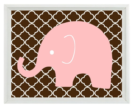 Elephant Nursery Wall Art Print Pink Chocolate By