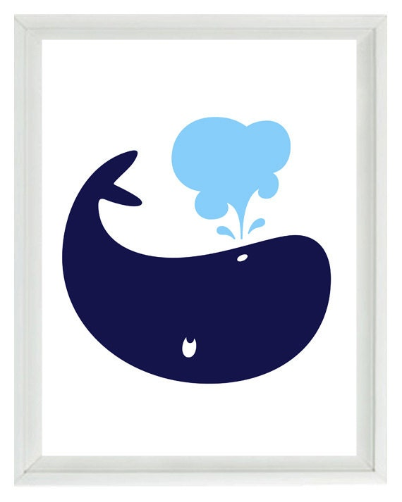 White Whale Wall Decor : Whale wall art print navy blue light white nautical