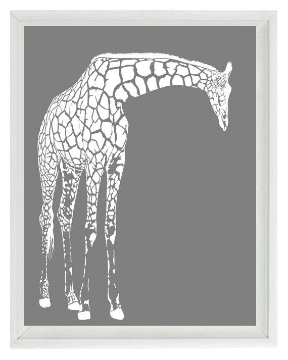 White Nursery Wall Decor : Giraffe nursery wall art prints white gray decor silhouette