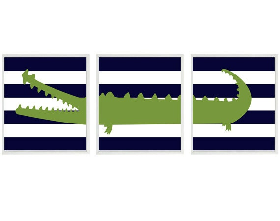Alligator Nursery Wall Art Print Set (3) 8x10 - Navy Blue Stripes Pottery Barn Madras Gator - Children Kid Baby Boy Room - Home Decor